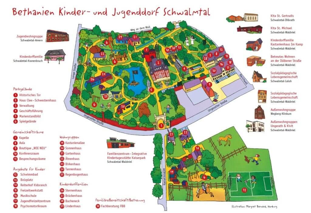 Lageplan des Bethanien Kinderdorfes in Schwalmtal